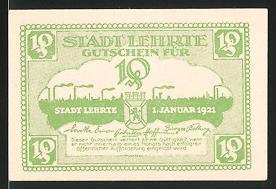 Notgeld Lehrte 1921, 10 Pfennig, Wappen & Blick über die Ortschaft