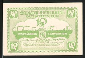 Notgeld Lehrte 1921, 10 Pfennig, Ortsanksicht & Stadtwappen