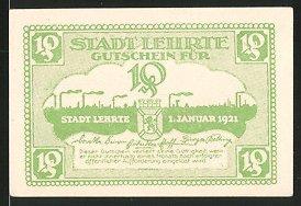 Notgeld Lehrte 1921, 10 Pfennig, Blick zur Ortschaft, Wappen