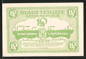 Notgeld Lehrte 1921, 10 Pfennig, Silhouette der Ortschaft mit Industrie-Schornsteinen, Wappen