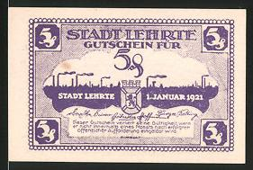 Notgeld Lehrte 1921, 5 Pfennig, Silhouette der Ortschaft, Wappen