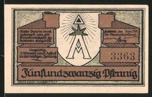 Notgeld Arolsen 1921, 25 Pfennig, Wappen, Schloss
