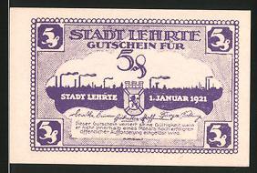 Notgeld Lehrte 1921, 5 Pfennig, Wappen & Silhouette der Ortschaft