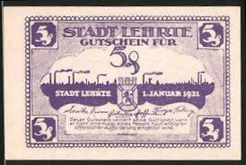 Notgeld Lehrte 1921, 5 Pfennig, Wappen und Silhouette der Ortschaft
