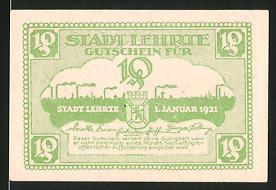 Notgeld Lehrte 1921, 10 Pfennig, Wappen & Silhouette der Ortschaft