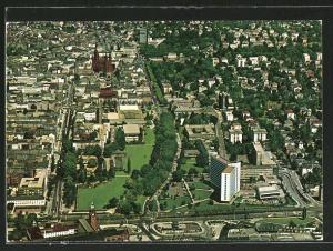 AK Wiesbaden, Luftaufnahme der City mit Dom