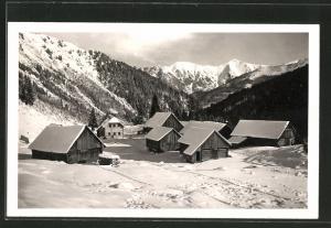 AK Mörsbachhütte, Berghütte gegen Schoberspitze im Winter
