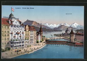 AK Luzern, Ortspartie mit Blick auf Hotel des Alpes und Bahnhof