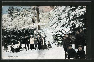 AK Rodel Heil!, Wintersportler mit ihren Schlitten