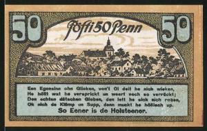 Notgeld Ahrensbök 1920, 50 Pfennig, Adler, Ortsansicht