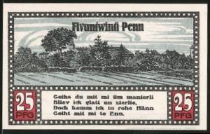 Notgeld Ahrensbök 1920, 25 Pfennig, Statue, Ortsansicht