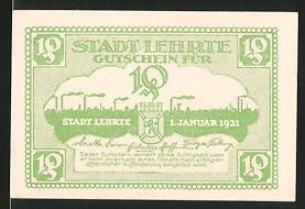 Notgeld Lehrte 1921, 10 Pfennig, Stadtsilhouette mit Wappen