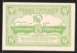Notgeld Lehrte 1921, 10 Pfennig, Stadtsilhouette & Wappen