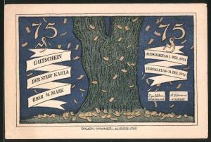 Notgeld Kahla 1921, 75 Pfennig, Scheine fallen vom Baum, Leute sind sich nicht einig