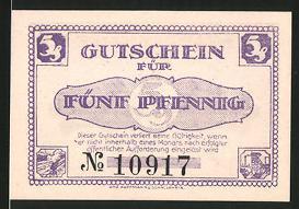 Notgeld Lehrte, 1921, 5 Pfennig, Wappen