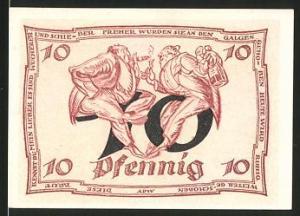 Notgeld Arnstadt, 1921, 10 Pfennig, Männer mit Zigarre im Gespräch, Wappen