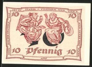 Notgeld Arnstadt, 1921, 10 Pfennig, Adler, Frauen streiten über Preissteigerungen