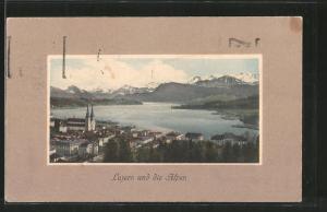 AK Luzern, Gesamtansicht und die Alpen