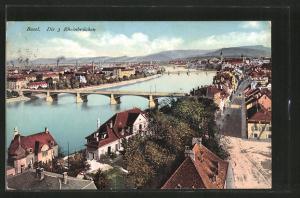 AK Basel, Die 3 Rheinbrücken aus der Vogelschau
