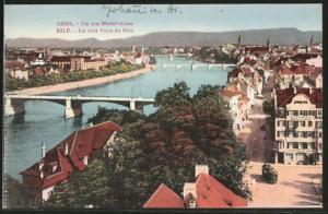 AK Basel / Bâle, Les trois Ponts du Rhin, die 3 Rheinbrücken, Strassenbahn