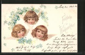 Lithographie Weihnachtsengel und Vergissmeinnicht