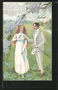 Lithographie Verliebt, Die Knospen nach den Blüten ringen..., junges Paar und Flieder