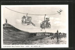 AK Rüdesheimer Berg Auslese Heiju - juchei - wir machen mit!, Seilbahn