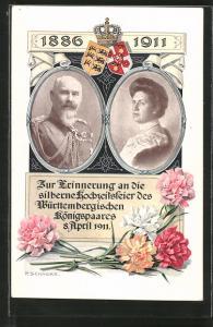 AK Zur Erinnerung an die silberne Hochzeit des Königspaares von Württemberg, 8. April 1911, Ganzsache Württemberg