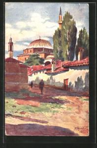Künstler-AK Prichtina, La grande mosquee, Partie mit Moschee