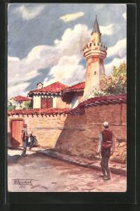 Künstler-AK Prichtina, L`ancienne mosquee, alte Moschee