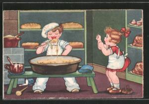 Künstler-AK Margret Boriss: Kleiner Bäcker nascht vom Teig