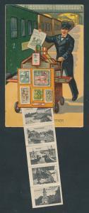 Leporello-AK Bremen, Rathaus, Freihafen, Teichmannsbrunnen, Zeitungsverkäufer auf dem Bahnhof, Eisenbahn