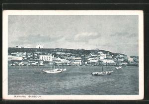 AK Havana, The Harbour, Blick zum Hafen, Segelboote