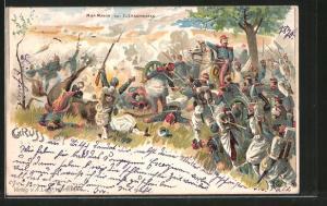 Künstler-AK Elsasshausen, MacMahon in der Schlacht der Reichseinigungskriege