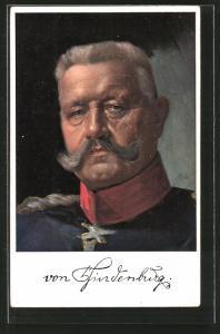 Künstler-AK Generalfeldmarschall Paul von Hindenburg im Porträt