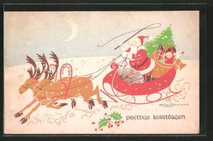 Künstler-AK Willy Schermele: Weihnachtsmann mit seinem Schlitten