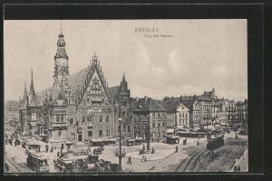AK Breslau, Ring mit Rathaus & Strassenbahn