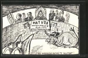 AK Absolvia Matura 1927, Stierkampf,