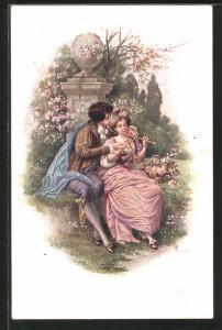 AK Liebespaar mit Flöte im Park