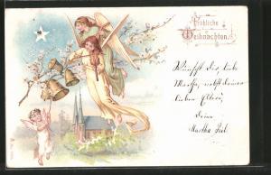 Lithographie Fröhliche Weihnachten, Weihnachtsengel mit Laute und Geige