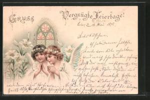 Lithographie Vergnügte Feiertage!, Betende Engel und Lilien