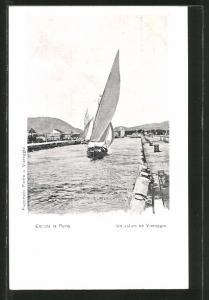 AK Viareggio, Entrata in Porto, Hafenpartie, Segelboot