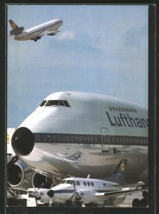 AK Fluggesellschaft Lufthansa, Boeing 727 und Propellermaschine