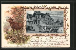 Passepartout-Lithographie Dobel, Hotel Pension Sonne v. Kramer, Hirsch