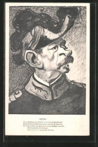 AK Karikatur, Portrait Kriegsminister Louis Joseph André