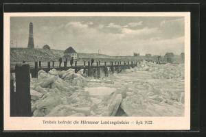 AK Hörnum, Treibeis bedroht die Landungsbrücke 1922