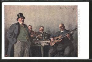 Künstler-AK Alt-Wien, Musiker spielen Geige und Gitarre
