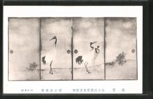 Künstler-AK Kraniche stehen auf einer Wiese, Japanische Kunst
