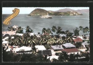 AK L`Ilet à Cabrits, Ortsansicht und Dampfer Jeanne vor der Küste