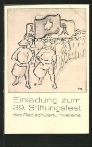 Einladung 39. Stiftungsfest Realschülerturnverein, Wettturnen 1918 im Schweizerhaus, Turner-Parade